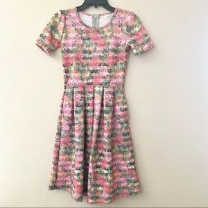 Lularoe Amelia floral/striped print dress size XXS
